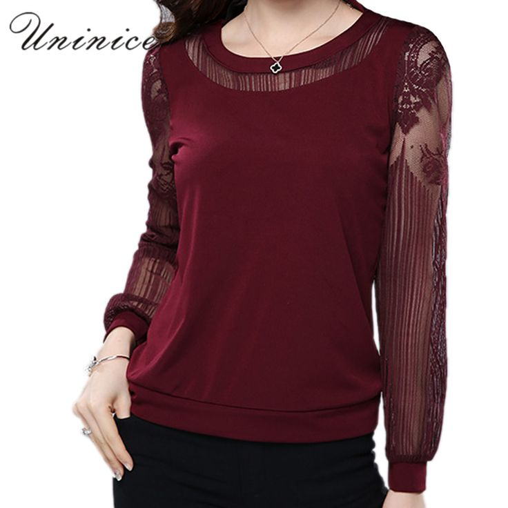 Lace Blouse Shirt Women Red/Black Plus Size Casual Chiffon Blouse Women's Clothing Loose Long Sleeve Women Blouse Bottoming Hot