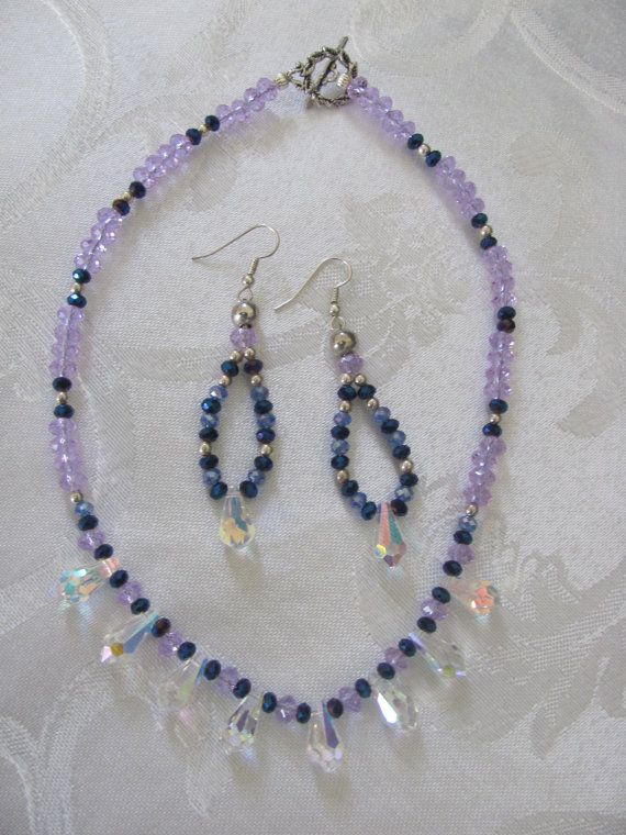Swarovski crystal necklace and earrings by NeedfulBeads47 on Etsy
