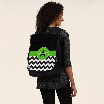 Black Green Chevron Backpack - monogram gifts unique custom diy personalize