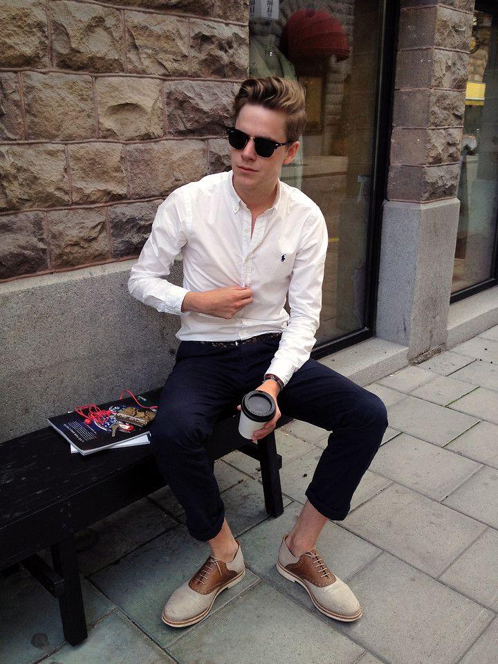 cuffs and kicks.: Street Fashion, Ralph Lauren, Saddles Shoes, White Shirts, Men Style, Street Style, Stylish Clothing, Men Fashion, Men'S Fashion