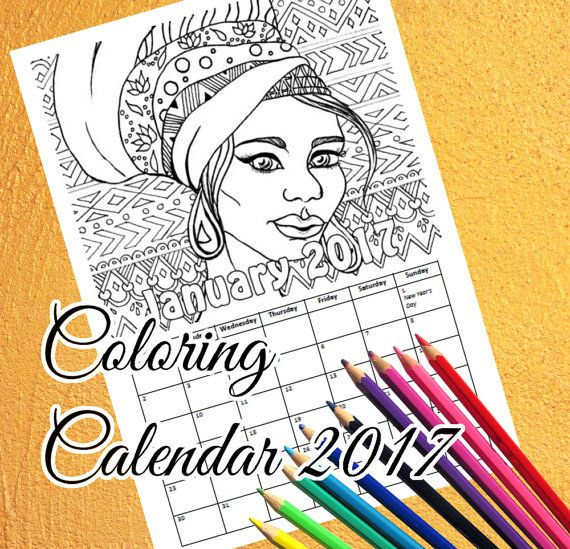 Printable Coloring Calendar 2017 | Indian & African Girl Portraits | PDF Download. 2017 Coloring Calendar! Printable PDF coloring calendar you can download instantly with female portraits of Indian and African and other cultures. 12 pages, one for each month. Ethnic portraits, fashion and jewellery with patterns and flowers in the background for adults and children to color.