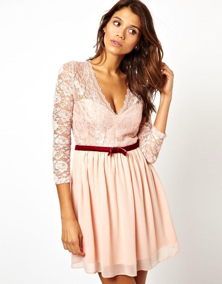 Jewelled trim lace dress