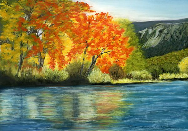 Autumn Trees by a Mountain Lake. Pastel on Pastelmat 15x10½ inches. Fine Art Prints and Greeting Cards available here.
