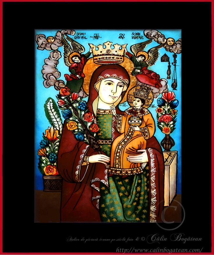 Maica Domnului Floarea nepieritoare icoană naivă pictată pe dosul sticlei în ulei pictură tradițională lucrare de artă religioasă icoană ortodoxă pe sticlă icoană Maica Domnului Floarea nepieritoare icoană  pictată  pe sticlă cu Maica Domnului Floarea nepieritoare
