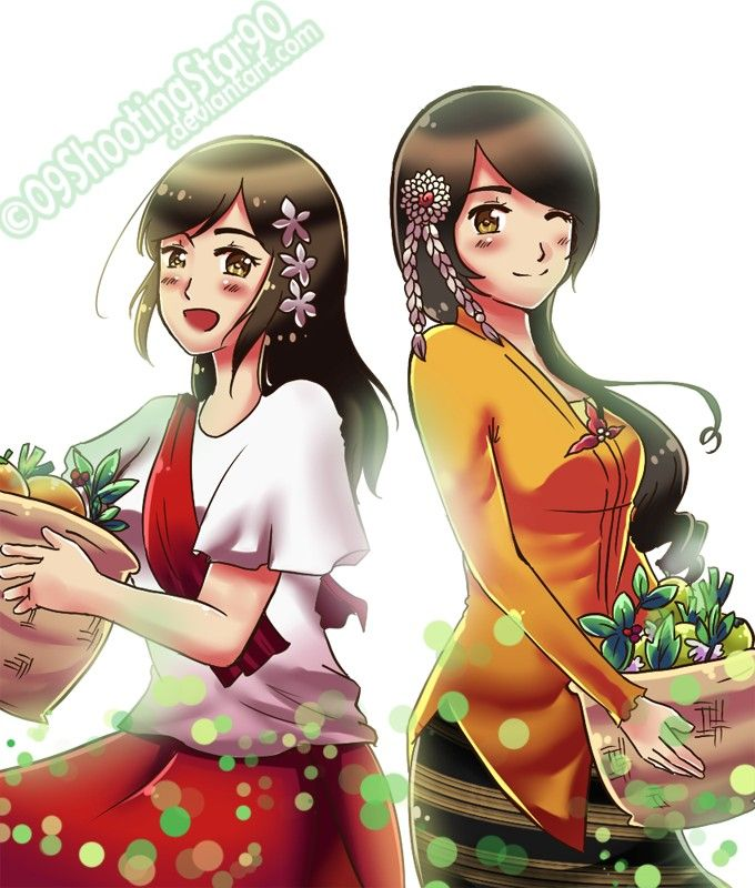 Entry by fierynougat on Zerochan. Philippines and Indonesia. I like the idea that they're sisters.
