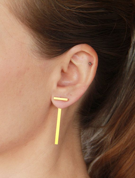 Gold Ear Jackets Single Or Pair 24K Gold Plated by tothemetal