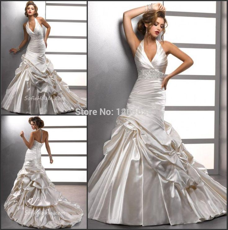 Купить товарСексуальная труба / русалка холтер кот атласная бисером свадебное платье с пикап юбка HBQ701 в категории Свадебные платьяна AliExpress.                           Добро пожаловать в наш магазин