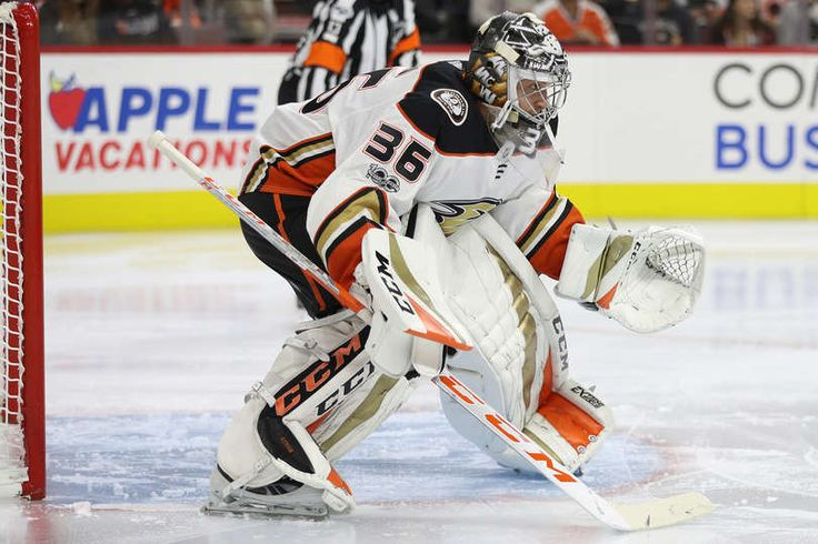 Goalie John Gibson #36 of the Anaheim Ducks tends the net against the Philadelphia Flyers during the second period at Wells Fargo Center on October 24, 2017