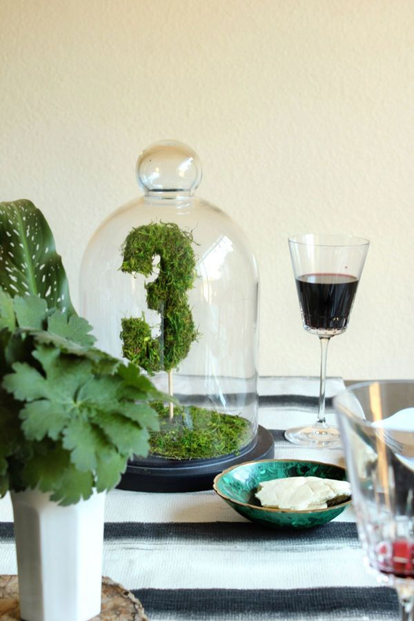 Moss Topiary Table Numbers in Cloche  Wedding
