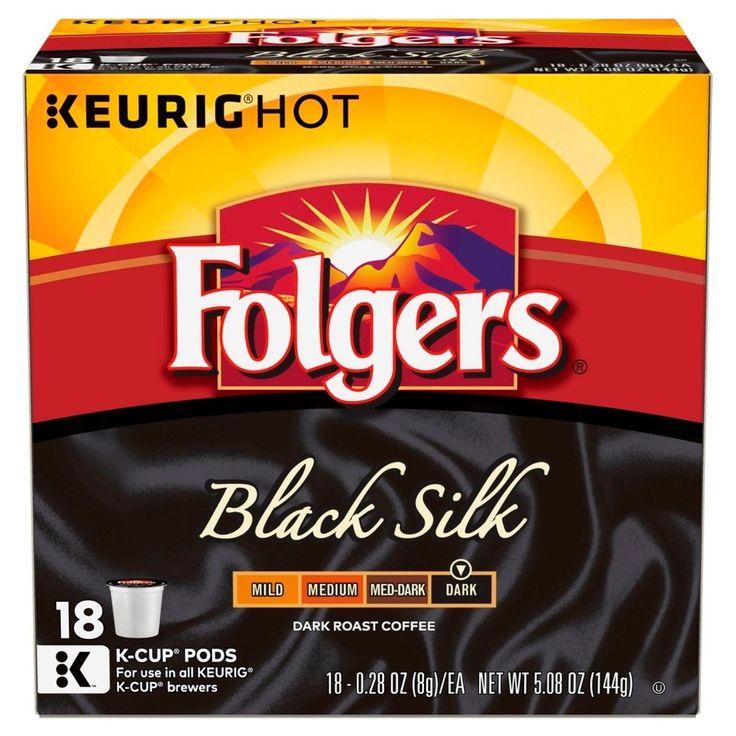 Folgers Gourmet Selections Black Silk Dark Roast Coffee - K-Cup Pods - 18ct