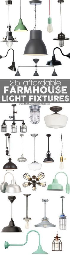 Nice collection of farmhouse-style light fixtures curated by The Shabby Creek Cottage.