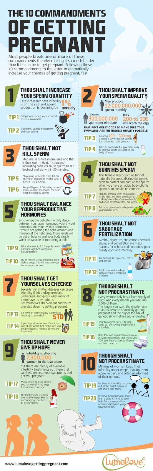 Great tips even if you're NOT trying to get pregnant. Bellyitch: 10 Commandments of Fertility & Getting Pregnant (INFOGRAPHIC)