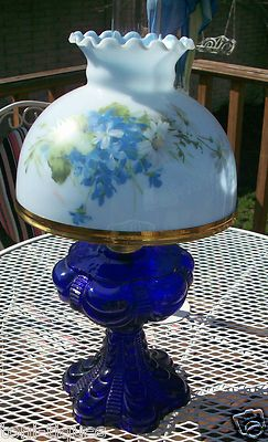 Antique Vtg Cobalt Blue Draped Oil Lamp Eagle Burner GWTW Student Fenton Shade | eBay