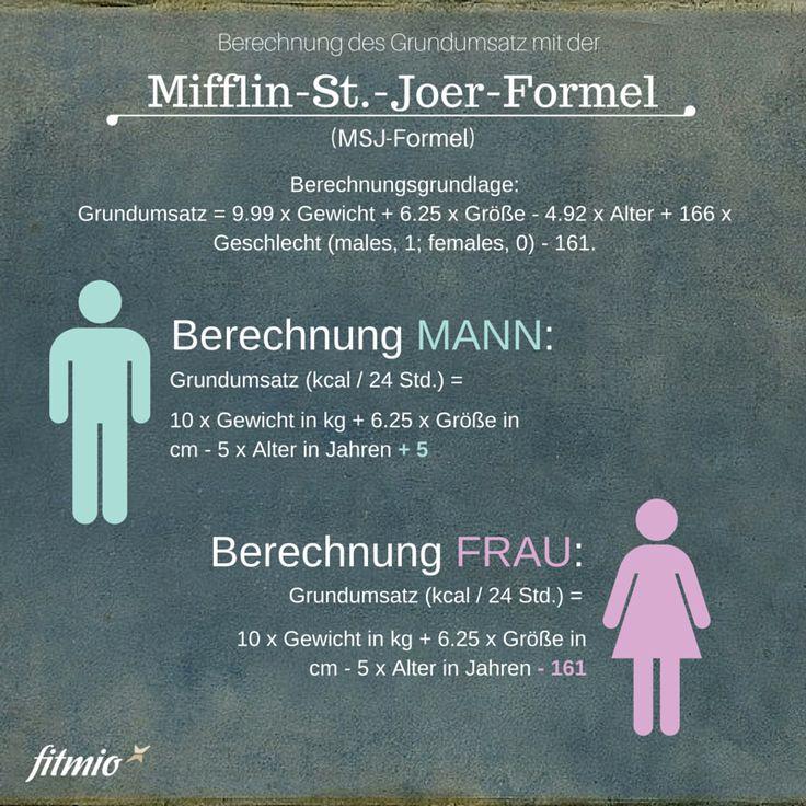 Berechnung des Grundumsatz nach der Mifflin. St. Joer Formel, MSJ Formel