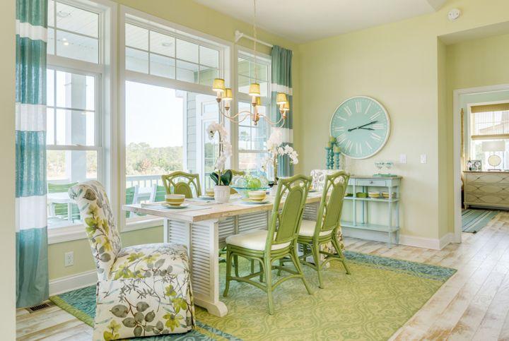 green and aqua blue dining room