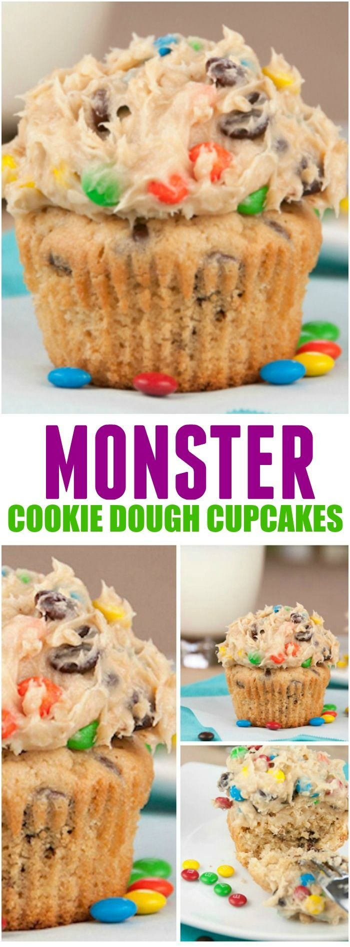 These Monster Cookie Dough Cupcakes from Wishes and Dishes are rich peanut butter cupcakes topped with a sweet and loaded cookie dough frosting that is packed full with peanut butter, chocolate chips and M&M candy! || Featured on http://www.thebestblogrecipes.com