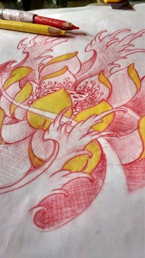 Lotus flower tattoo sketche
