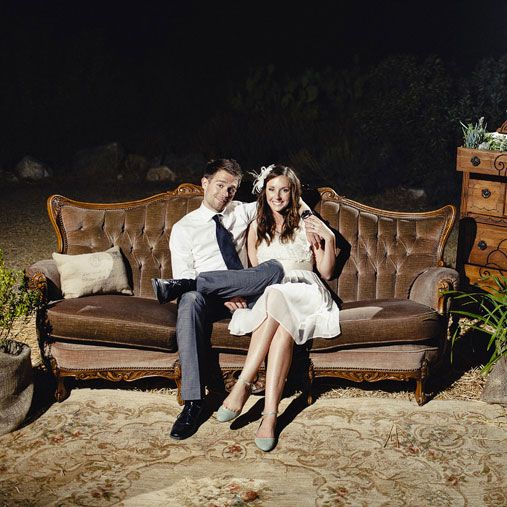 Vintage loveseat for the couple's table?  Recycle Your Wedding: Eclectic DIY and Vintage Finds