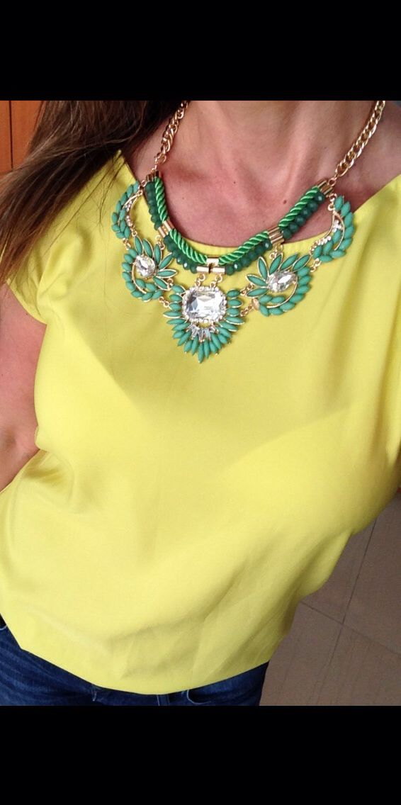 Green #shourouk necklace Yellow shirt outfit #zara Jeans #guess Jean and a yellow shirt outfit