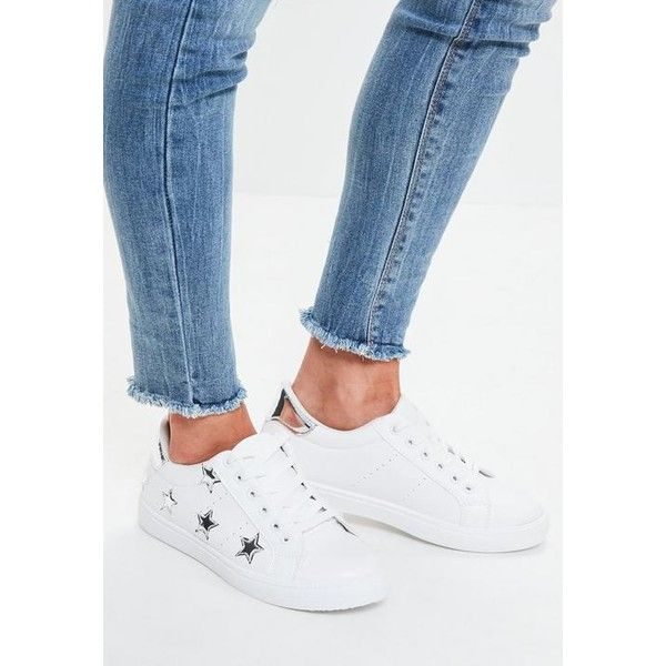 Missguided Silver Star Lace Up Trainers featuring polyvore women's fashion shoes sneakers white lace up shoes missguided shoes star sneakers star shoes laced up shoes