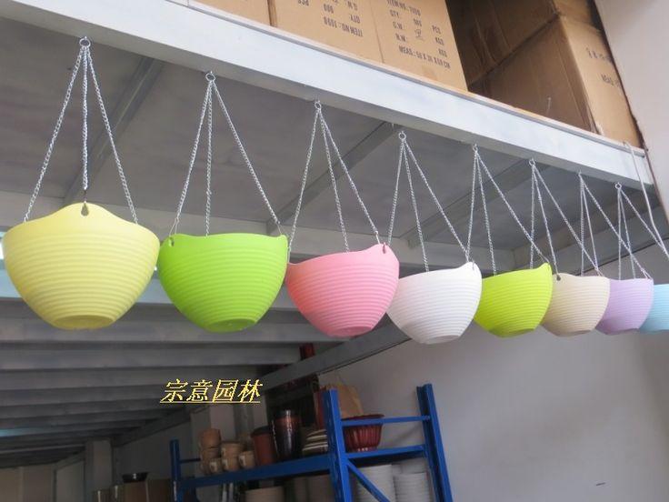 Цветочные горшки стене висит, Высокое качество пластиковые смола висит корзина горшки, Открытый висит растения горшок, Висячие плантатор горшки