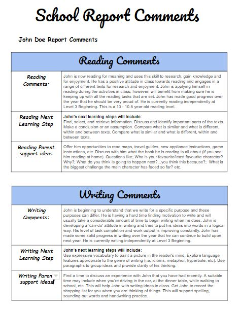 report card comments  personalised report writing tool