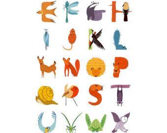 Dieren alfabet Poster A3 afdrukken A2 A1 Childrens door RedGateArts