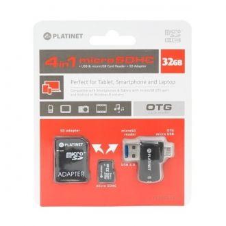 PLATINET 4-in-1 microSD 32GB + adapter SD + adapter USB i MicroUSB OTG Czytnik kart SD/microSD 4 w 1 do tabletów, smartfonów, telefonów komórkowych, PC, aparatów cyfrowych i innych urządzeń z portem USB lub microUSB. Transfer danych bezpośrednio przez port microUSB lub USB na kartę. Slot na kartę microSD, która jest nośnikiem pamięci, został ukryty w końcówce USB, a adapter zyskuje przez to dodatkową funkcję pendriva Plug & Play.