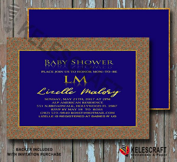 Blue & Gold Baby Shower Invite DiY Printable Ready Made Printed Baby Shower Invitation It's A Boy  Oh Baby Shower Invite Golden Dots frame by KelesCraft on Etsy