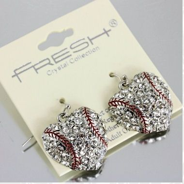 Limited Time Special Pricing - Bling Baseball Dangling Heart Earrings $6.95