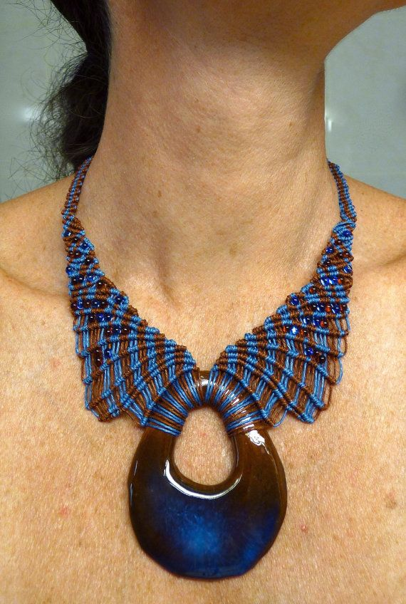 Blue terra cotta necklace nr 415 by IfatNesher on Etsy
