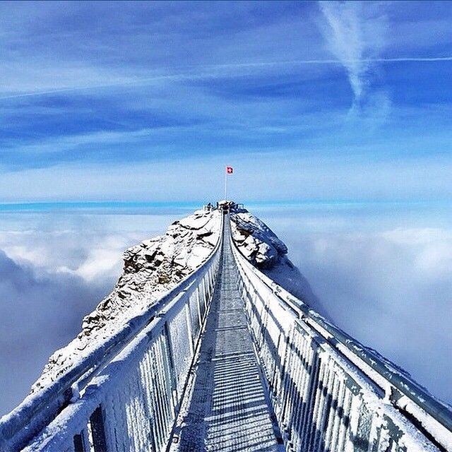 Switzerland Peaks. This is the brand-new 'Glacier 3000 Peak Walk' in Les Diablerets. It connects two peaks at 3000m (width 80cm, length 107m).
