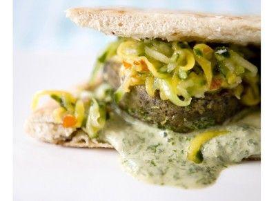 Lentils burger and mango/comcumber relish