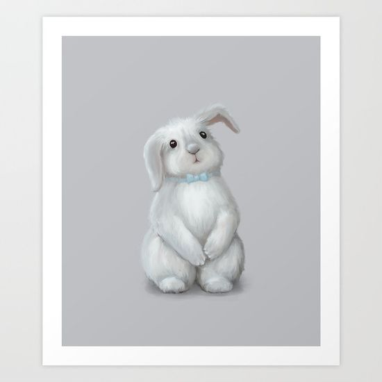 White Rabbit Boy Art Print on @society6 Buy print and other product with my fine art  online:  https://society6.com/oxygen White cute bunny rabbit Digital illustration for kids isolated on white #Animals #ArtForHome #FineArtPrints #InteriorDesign #OksanaAriskina  #HomeDecor #FineArtPrint #Wall #PrintsForSale  #Illustration #Watercolor #WallArt