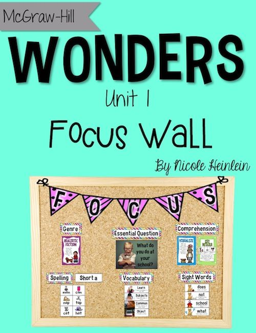 Focus Wall posters and cards for McGraw Hill's Reading Wonders program for first grade - Unit 1