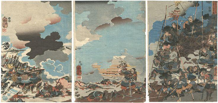 The Death of Yamamoto Kansuke at the Battle of Kawanakajima on the 4th Day of the 9th Month, 1561 by Kuniyoshi / 永禄四年九月四日川中島ノ合戦ニ山本勘介入道討死図   国芳
