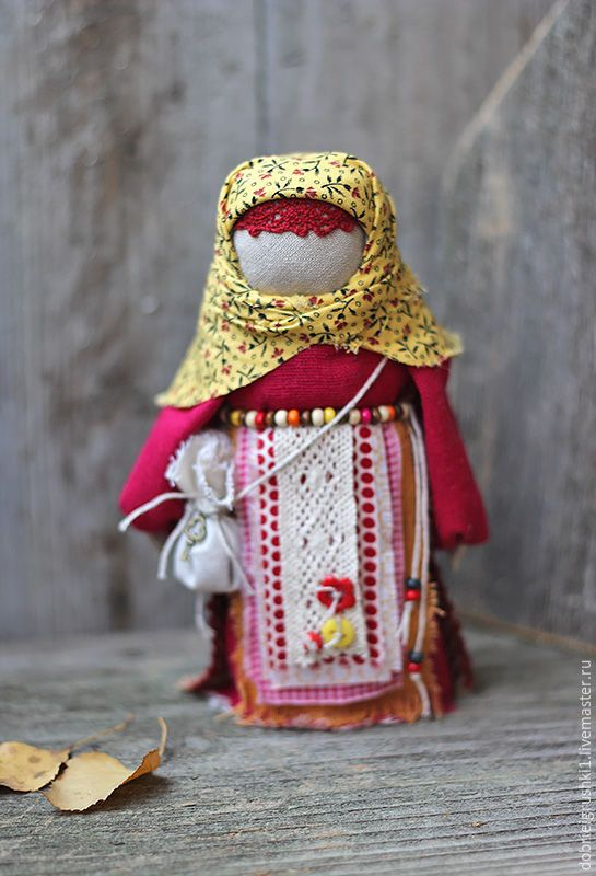 "Куколка ""На ярмарку"" - бордовый, кукла ручной работы, кукла, народная кукла"