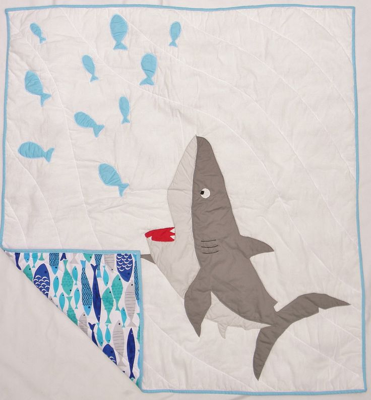Shark baby quilt - Shark crib quilt - Shark crib bedding item - Shark baby blanket - Homemade boy baby quilt - Shark nursery - Custom made by createdbymammy on Etsy https://www.etsy.com/listing/218500829/shark-baby-quilt-shark-crib-quilt-shark
