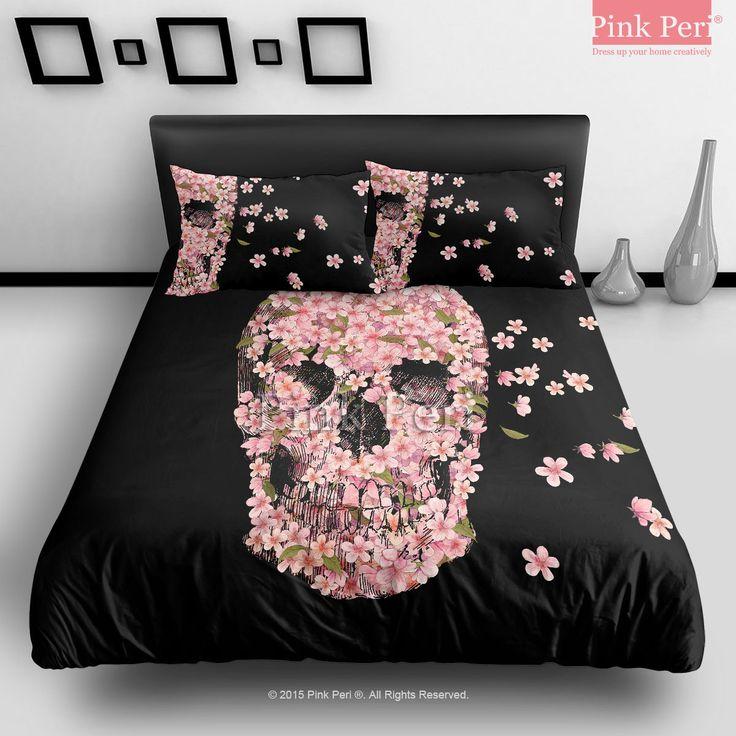The cherry blossom skulls cartoon bar fight reincarnate for Tattoo bedding queen