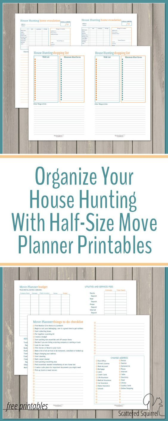 This set of half-size move planner printables includes house hunting helpers, a budget worksheet and to-do list to help you organize your house hunting.