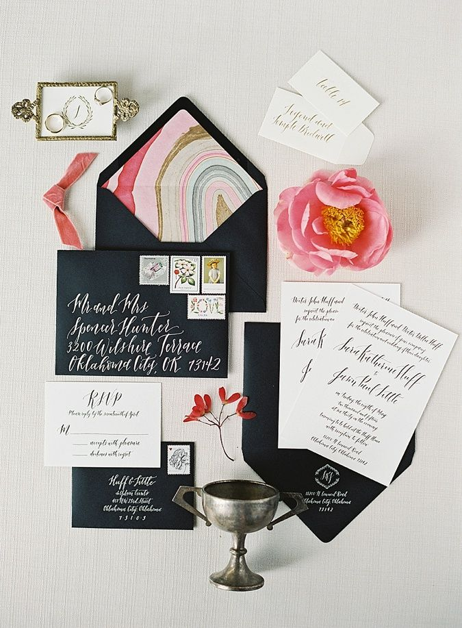 Invitation Suite and Calligraphy by Blue Eye Brown Eye Image by Brett Heidebrecht Photography Styling by Sara Kate Studios