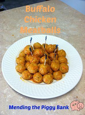 Mending the Piggy Bank   Squealin' Good Food: Buffalo Chicken Meatballs