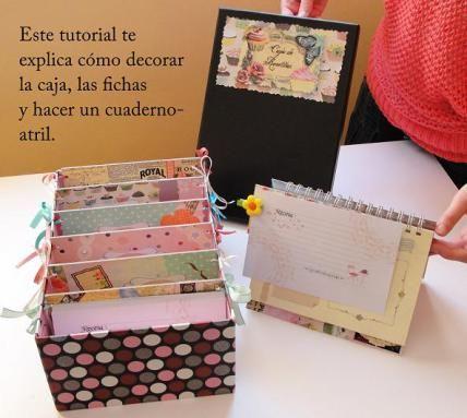 Tutorial paso a paso caja de recetas + libreta atril: http://cinderellatmidnight.com/2012/04/10/nuevo-tutorial-gratuito-explicado-paso-a-paso-una-caja-de-recetas-con-separadores-y-libreta-atril-ideal-como-regalo-para-el-dia-de-la-madre/