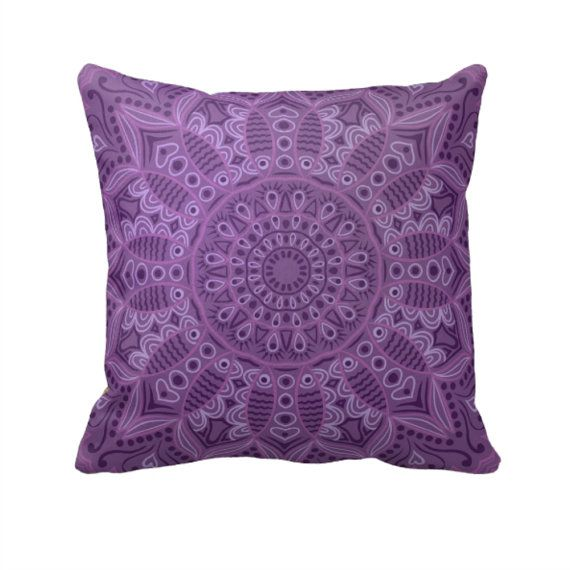 Boho Purple  Throw Pillow Decorative Throw Pillows by FolkandFunky