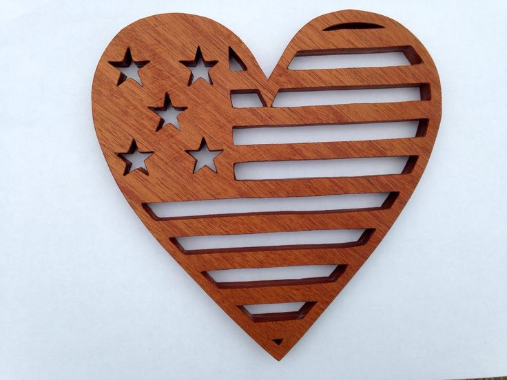 Patriotic Heart Trivet by HHWoodcrafts on Etsy