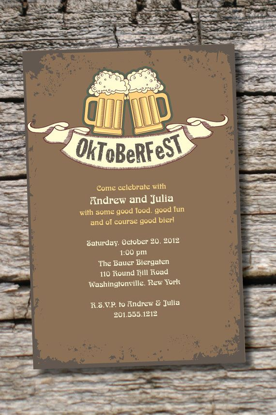 wording0th birthday party invitation%0A OKTOBERFEST Octoberfest Beer Party Bier Halloween Party Invitation   Printable digital file or printed invitations