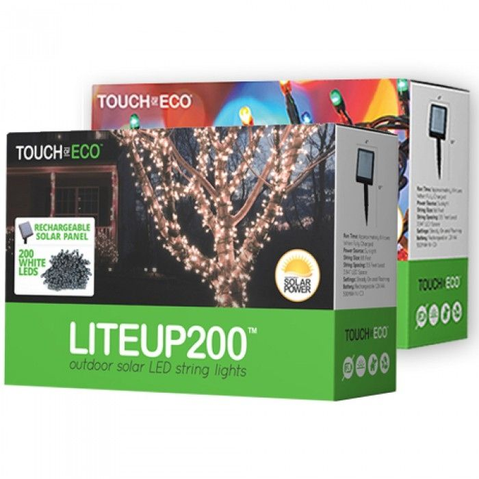 LITEUP by Touch Of ECO are outdoor solar LED string lights that will add light to any home or landscape without the need of long power cords or an increased electricity bill. The included remote solar...