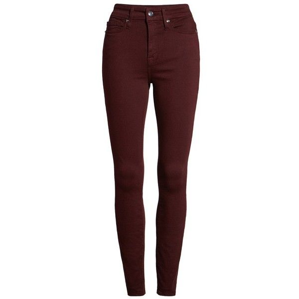 Women's Good American Good Legs High Waist Skinny Jeans ($149) ❤ liked on Polyvore featuring jeans, pants, burgundy, high-waisted jeans, stretch jeans, stretchy skinny jeans, red skinny jeans and high rise jeans