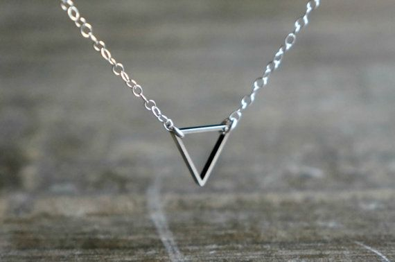 Triangle Necklace / Geometric Steel Pendant on Sterling by lefaire, $23.00