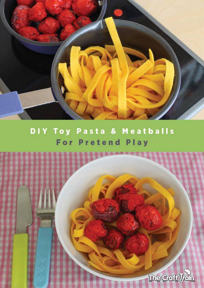 Create easy toy pasta and meatballs for pretend play